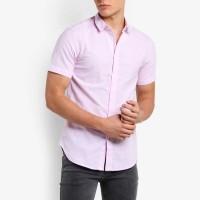 VM Kemeja Pendek Polos SLimfit Soft Pink - Shor shirt baby pink
