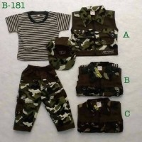 baju setelan 4 in 1 kaos rompi celana panjang topi army tentara anak