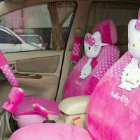 Sarung jok mobil AGYA/AYLA motif HELLO KITTY PINK