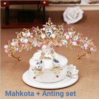 Mahkota rambut set anting tiara wedding hiasan pesta pengantin CC21