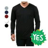 Kaos Oblong Polos Lengan Panjang V-Neck Unisex T-Shirt