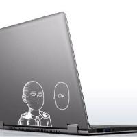 Stiker Aksesoris Laptop Anime One Punch Man Saitama Ok Face Garskin Fu - Hitam