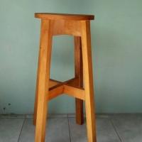 Kursi Kayu Tinggi/ Bangku Cafe Bulat