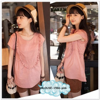 Baju Blus Top Kaos Katun Pink Valentine Linen Korea Jepang Import