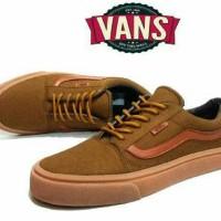 Sepatu Vans old skool sol gum navy coklat putih