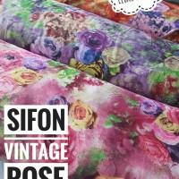 Kain sifon chiffon motif bunga kembang mawar vintage rose