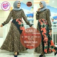 Dress Gamis Baju Muslim Wanita Motif Bunga Loreng Macan Tutul