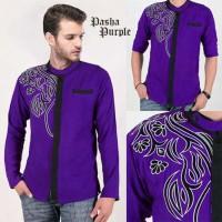 Pakaian Baju Pria Cowok Busana Koko Muslim Purple Ungu Casual Pasha