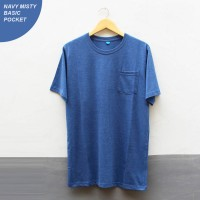 Navy Misty Pocket Basic T-shirt Cotton Combed 30s   Kaos Polos Misty