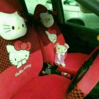 Sarung Jok Mobil AGYA/AYLA MOTIF HELLO KITTY MERAH BINTIK HITAM