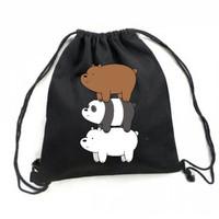 We Bare Bears Drawstring Bag/ Tasserut/ Bahan Taslan