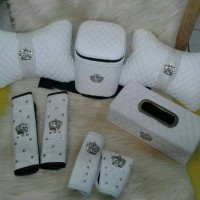 Set Bantal Mobil Kulit Premium WHITE DAD CROWN (Paket Hemat)