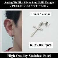 Anting Tindik Cowok Pria - Silver Stud Salib Dangle