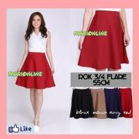 rok pendek hitam polos black flare skirt