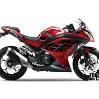 Decal Sticker Modifikasi Kawasaki Ninja 250 Fi Merah - Line