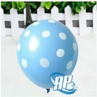 balon latex polkadot biru muda / balon polkadot biru / balon polka dot