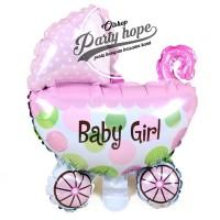 balon foil baby shower stroller girl / balon foil kereta baby girl