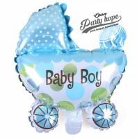 balon foil baby shower stroller boy / balon foil kereta baby boy