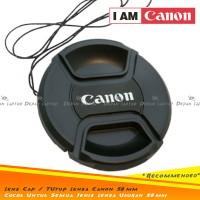 Lens Cap Tutup Penutup Lensa Kamera 58mm Logo Canon Kit 18-55mm dll