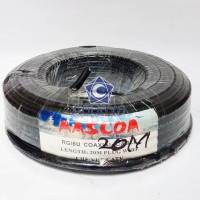 Kabel RG6 Mascom 20m + Jack TV Konektor 20 Meter Coaxial Antena