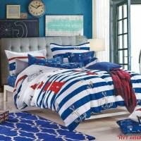bed cover dan sprei katun catra warna biru ukuran 150x200