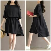 [Lea black RO] dress wanita twiscont hitam