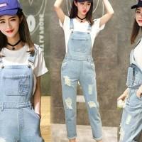 [Janetz jeans RO] jumpsuit wanita jeans washed biru muda