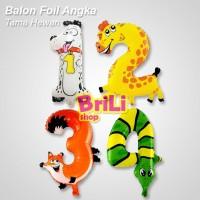 Balon Foil Angka Hewan | Balon Angka Binatang Animal | Souvenir Ultah