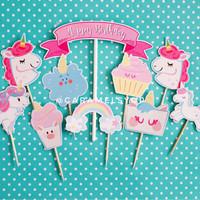Unicorn & Friends Cake Topper Set / hiasan kue ultah kuda unicorn