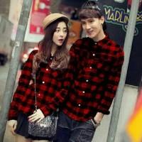 aop kemeja couple korea MERAH cp hem kotak / baju pasangan pakaian