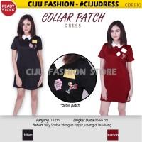 Collar Patch Dress Midi Dress Wanita Baju Gaun Pesta (CDR110)