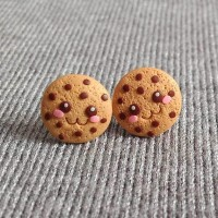 anting tusuk cookies choco chip giwang tindik handmade clay kawaii