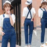 [Eva overall jeans RO] jumpsuit wanita jeans washed biru tua