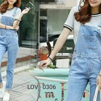 [Eva overall jeans RO] jumpsuit wanita jeans washed biru muda