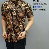Batik, Kemeja slimfit pria,Baju batik cowok Lengan pendek ob 484