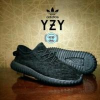 Sepatu Sneakers Adidas Yezzy FullBlack Cewek Cowok Running Hitam Polos