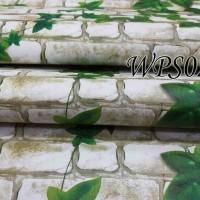 WPS023- WHITE BRICK N LEAVES wallpaper-dinding walpaper stiker dinding