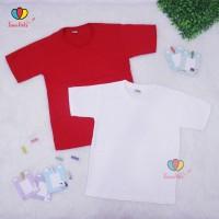 Kaos Merah Putih uk 2-10 Tahun / Polos Anak Baju Laki Perempuan Adem