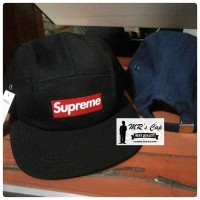 TOPI BASEBALL 5 PANEL SUPREME PREMIUM IMPORT HIGH QUALITY ! - Hitam