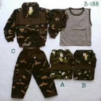 baju setelan jaket celana panjang topi army tentara anak laki laki