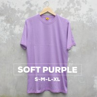 Baju Kaos Polos Oblong Bandung Ungu Muda SOFT PURPLE Cewek Cowok - S