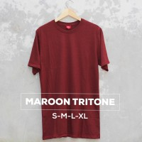 Baju Kaos Polos Oblong Bandung MAROON TRITONE Merah Marun Cewek Cowok