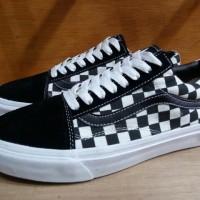 Sepatu Vans Old Skool Checkerboard Catur Black White Like Original