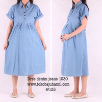 baju hamil dres hamil denim 1030