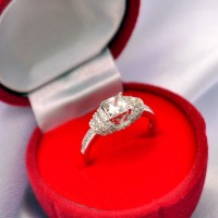 RL 054 - Ring Silver Emas Putih ASLI, Made in Korea - Garansi 6 bulan