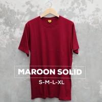 Baju Kaos Polos Oblong Bandung Maroon Solid Pria wanita Merah - S