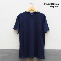 Baju Kaos Polos Lengan Pendek POCKET NAVY BLUE Saku Biru Dongker