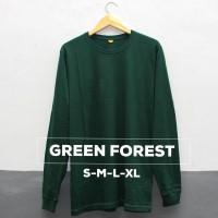 Baju Kaos Polos Lengan Panjang GREEN FOREST Hijau Botol Cewek Cowo - S
