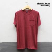 Baju Kaos Polos Lengan Pendek POCKET MAROON MISTY Saku Merah Marun