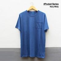 Baju Kaos Polos Lengan Pendek POCKET NAVY MISTY Saku Navy Misti